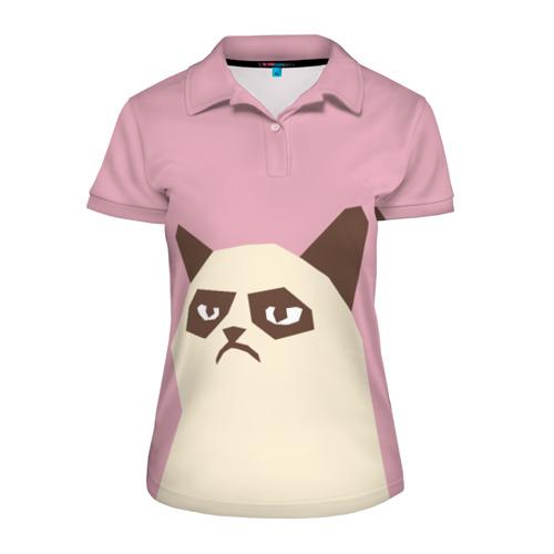 Женская рубашка поло 3D Grumpy cat pink