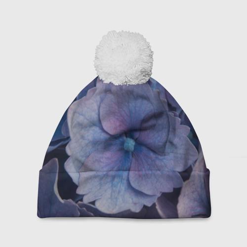 Шапка 3D c помпоном  Фото 01, Синие цветочки