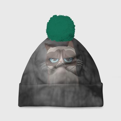 Шапка 3D c помпоном Grumpy Cat