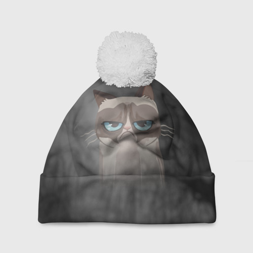 Шапка 3D c помпоном  Фото 01, Grumpy Cat