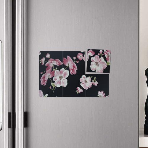 Магнитный плакат 3Х2  Фото 04, Цветы на черном фоне