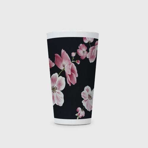 Кружка Латте  Фото 03, Цветы на черном фоне