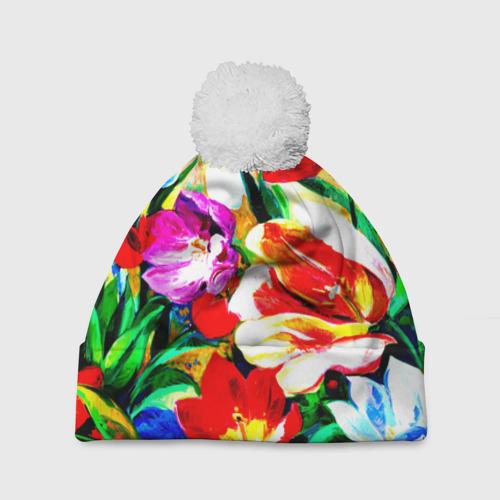 Шапка 3D c помпоном  Фото 01, Тюльпаны