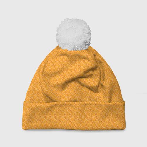 Шапка 3D c помпоном  Фото 01, Текстура апельсин