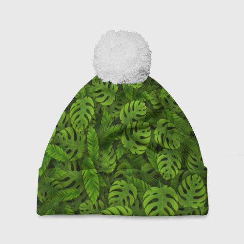 Шапка 3D c помпоном  Фото 01, Тропические листья