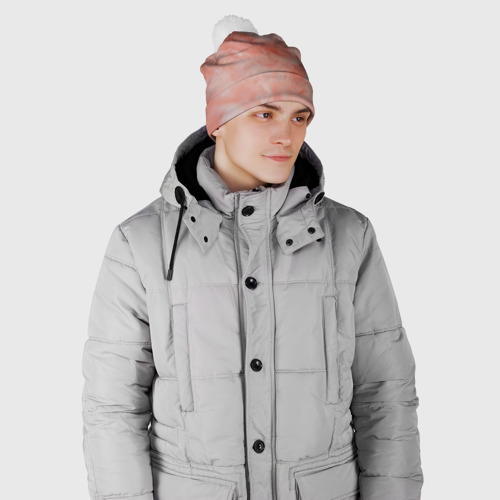 Шапка 3D c помпоном  Фото 02, Розовый мрамор - Венец