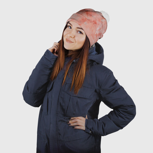 Шапка 3D c помпоном  Фото 03, Розовый мрамор - Венец