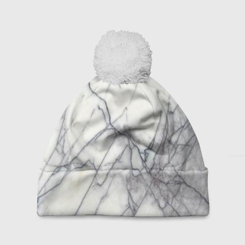 Шапка 3D c помпоном  Фото 01, Белый мрамор