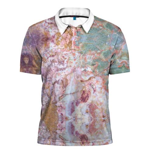 Мужская рубашка поло 3D  Фото 01, Розово-зеленый мрамор