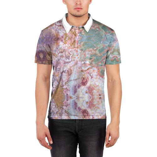 Мужская рубашка поло 3D  Фото 03, Розово-зеленый мрамор
