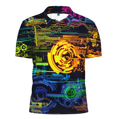 Мужская рубашка поло 3D Техно