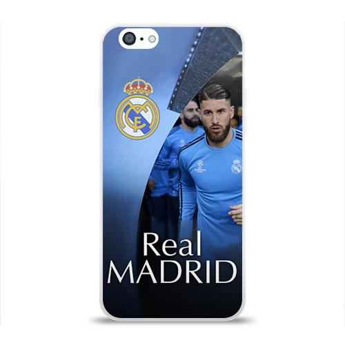 Чехол для Apple iPhone 6 силиконовый глянцевый  Фото 01, Real Madrid