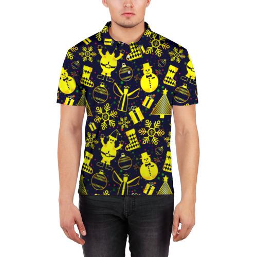 Мужская рубашка поло 3D  Фото 03, Новогодний