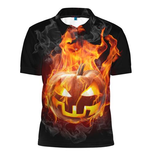 Мужская рубашка поло 3D Огненная стихия хэллоуин