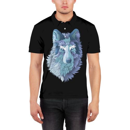 Мужская рубашка поло 3D  Фото 03, Седой волк