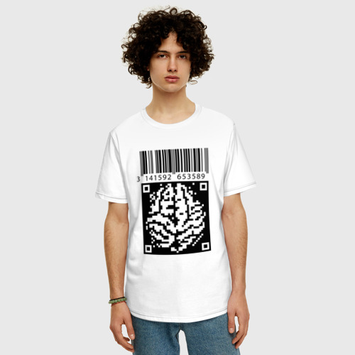 Мужская футболка хлопок Oversize QR brain code Фото 01