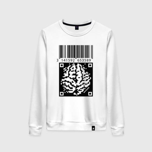 Женский свитшот хлопок QR brain code Фото 01