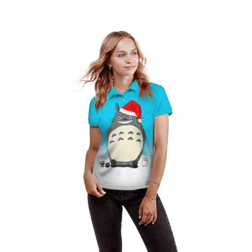 Женская рубашка поло 3D  Фото 03, Тоторо под снегом