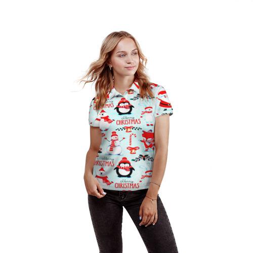 Женская рубашка поло 3D Christmas Фото 01