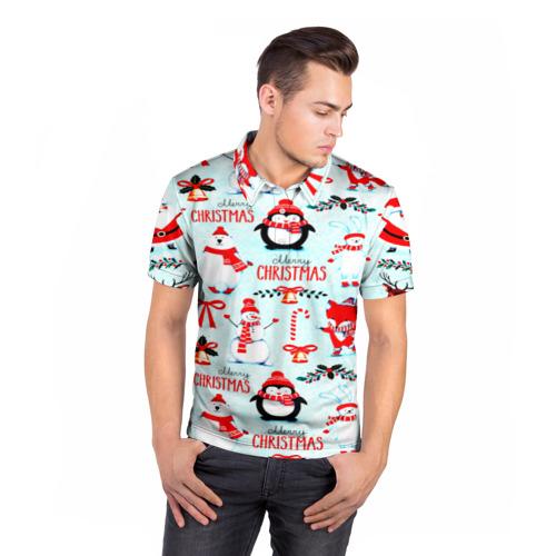 Мужская рубашка поло 3D Christmas Фото 01