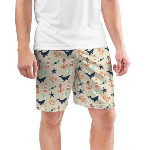 Мужские шорты 3D спортивные  Фото 03, Морской узор