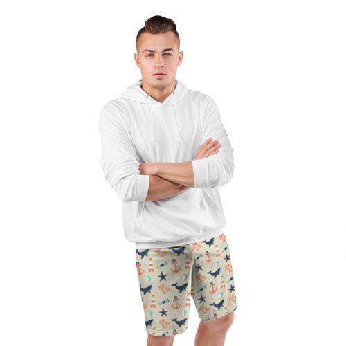 Мужские шорты 3D спортивные  Фото 05, Морской узор