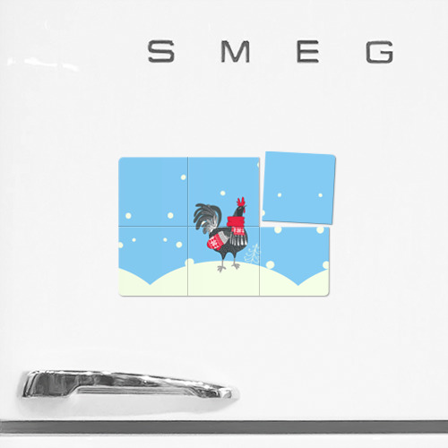 Магнитный плакат 3Х2  Фото 02, Милый петушок зимой