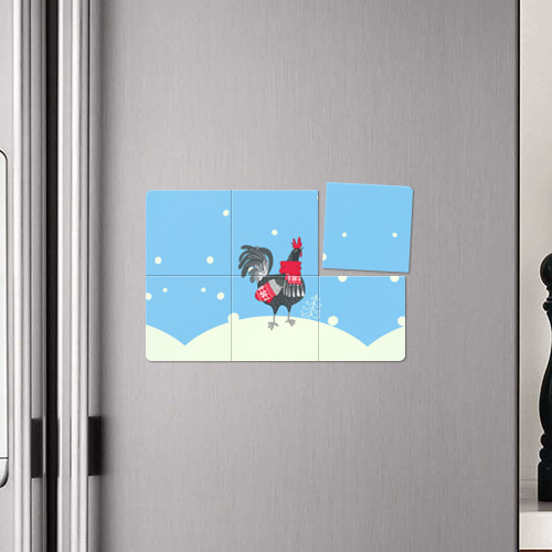 Магнитный плакат 3Х2  Фото 04, Милый петушок зимой