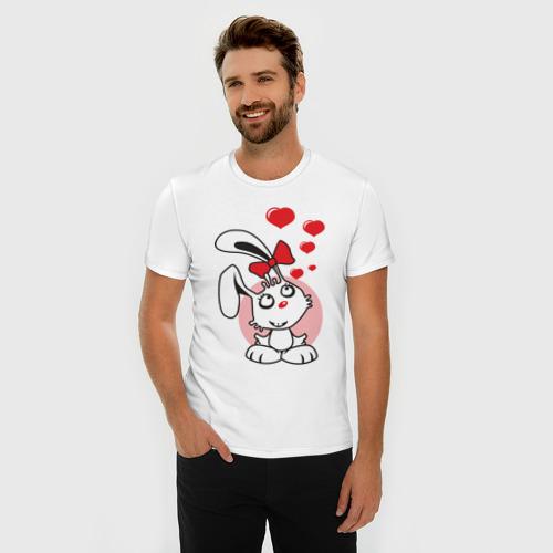 Мужская футболка премиум Влюбленная зайка Фото 01