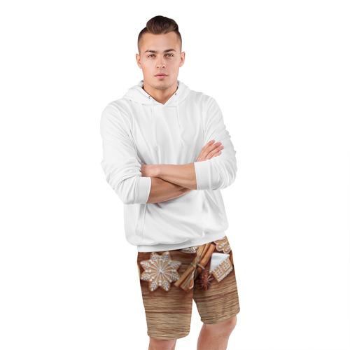 Мужские шорты 3D спортивные  Фото 05, Коричные пряники