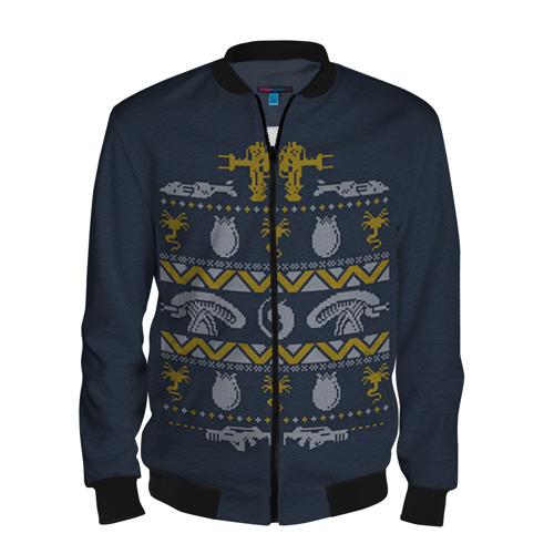 Мужской бомбер 3D Новогодний свитер Чужой