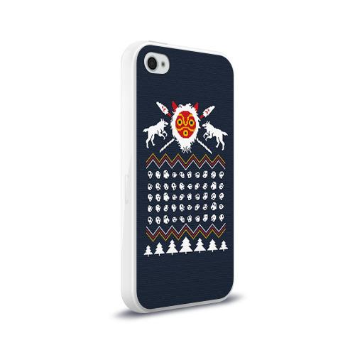 Чехол для Apple iPhone 4/4S силиконовый глянцевый  Фото 02, Новогодний свитер Принцесса Мононоке
