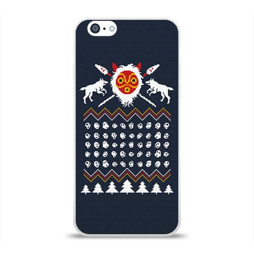 Чехол для Apple iPhone 6 силиконовый глянцевый  Фото 01, Новогодний свитер Принцесса Мононоке