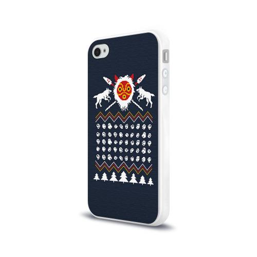 Чехол для Apple iPhone 4/4S силиконовый глянцевый  Фото 03, Новогодний свитер Принцесса Мононоке