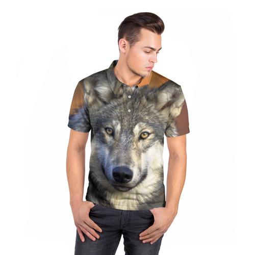Мужская рубашка поло 3D  Фото 05, Волк