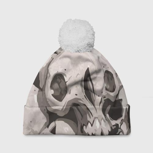 Шапка 3D c помпоном  Фото 01, Skull kamo