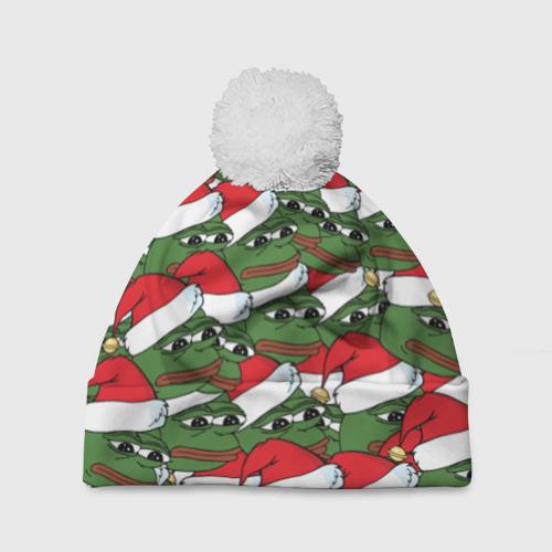 Шапка 3D c помпоном Sad frog new year