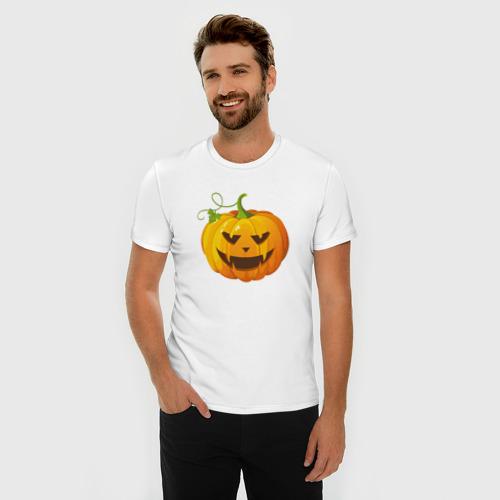 Мужская футболка премиум  Фото 03, Хэллоуин тыква