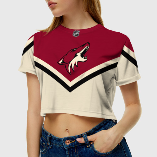 Женская футболка 3D укороченная Arizona Coyotes