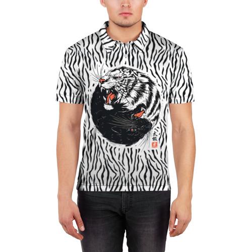 Мужская рубашка поло 3D  Фото 03, Yin Yang Tigers