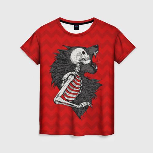 Женская футболка 3D Wolf Rage