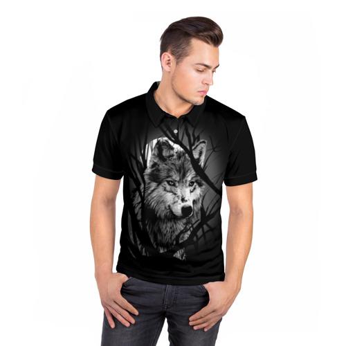 Мужская рубашка поло 3D Серый волк Фото 01