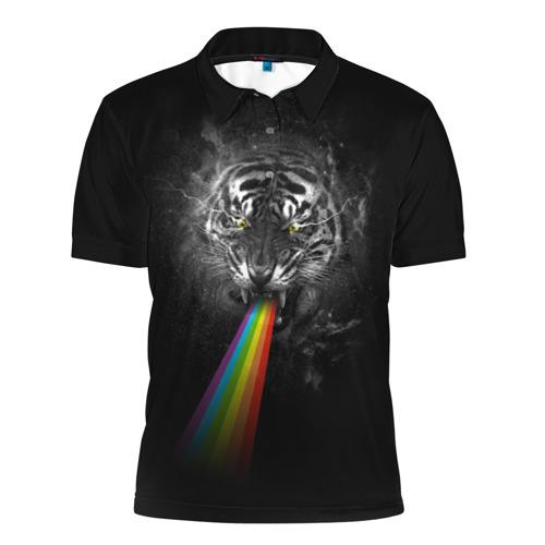 Мужская рубашка поло 3D  Фото 01, Космический тигр