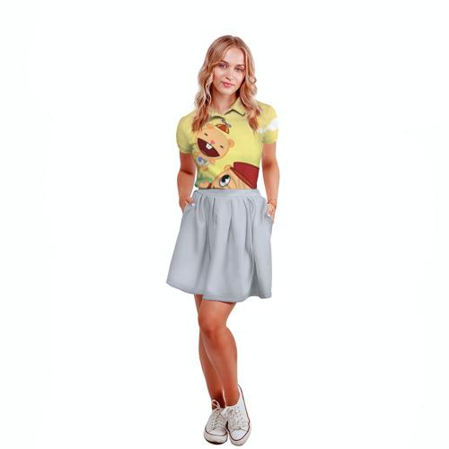 Женская рубашка поло 3D  Фото 04, Happy Tree Friends