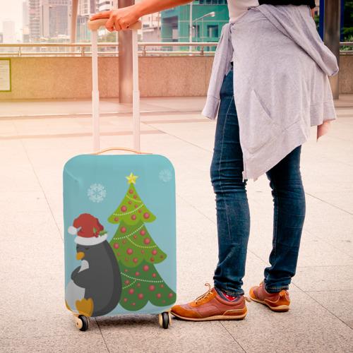 Чехол для чемодана 3D  Фото 04, Новогодний пингвинчик