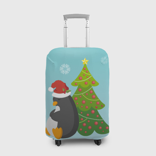 Чехол для чемодана 3D  Фото 01, Новогодний пингвинчик