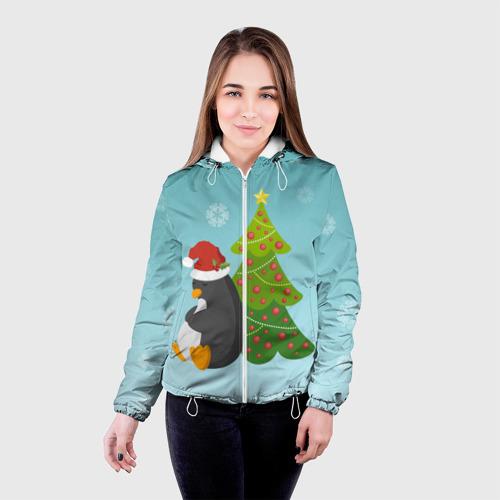 Женская куртка 3D  Фото 03, Новогодний пингвинчик