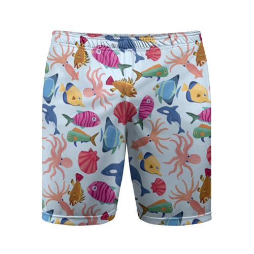 Мужские шорты 3D спортивные Морские обитатели