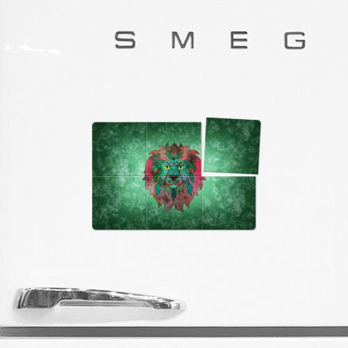 Магнитный плакат 3Х2  Фото 02, Лев на зеленом фоне