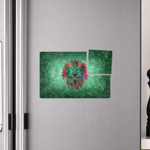 Магнитный плакат 3Х2  Фото 04, Лев на зеленом фоне